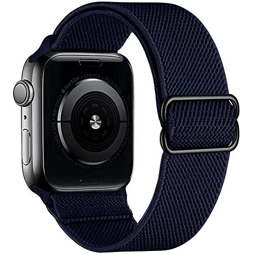 G-RF Poliéster Nailon Pulsera para Apple Watch Band 38mm 40mm 42mm 44mm, Elasticidad de Tejido de Una Pieza Correa de Repuesto (42mm/44mm,Azul Oscuro)