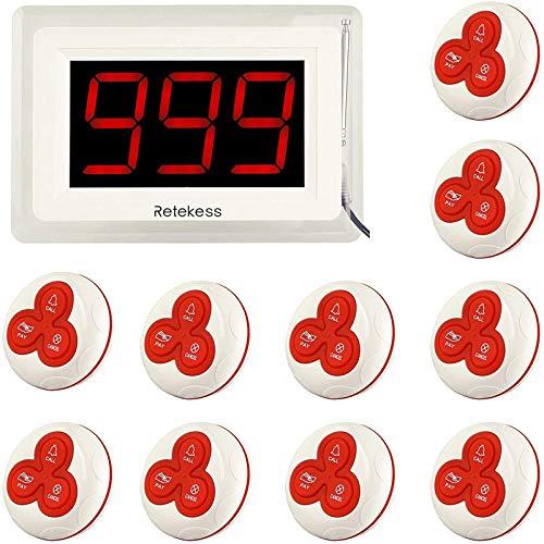 Retekess T114 Sistema de llamadas 1pcs Receptor de Pantalla + 10pcs Buscapersonas del Botón Sistema de Colas de Paginación Inalámbrica del Restaurante (Blanco)