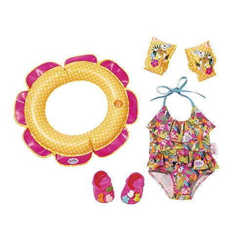 Zapf Creation 825891 BABY born Schwimmspaß Set bestehend aus Badeanzug, Schwimmreif, Clogs mit Pins und Schwimmflügeln, Puppenzubehör 43 cm, bunt