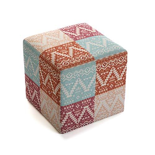 Versa 21350162 Tabouret Pouf carré Shikar, Polyester et Bois, Orange, Bleu/Rouge, 35 x 35 x 35 cm