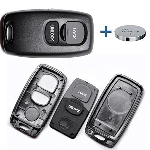 Auto Schlüssel Funk Fernbedienung 1x Gehäuse 2 Tasten + 1x CR2025 Batterie für Mazda