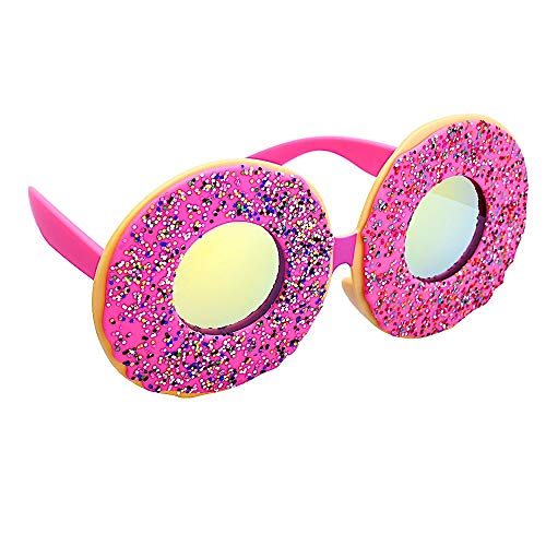 Sun-Staches Donuts Sunglasses, Pink Frame Doughnut Sprinkles Costume Party Favor Shades UV400, Multi, One Size (SG3675)