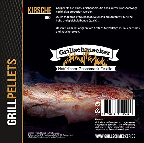 Grillschmecker Grillpellets - Holzpellets aus Kirschholz für Grill, Pelletofen & Smoker - Kirsche 10 kg