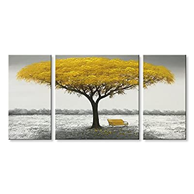 Winpeak Hand Painted Yellow Tree Modern Oil Painting Landscape Canvas Wall Art Abstract Picture Home Decoration Contemporaray Artwork Framed Ready to Hang from Winpeak Art
