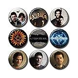 Pentagonwork 9 pcs Supernatural Button Pins Set Pack 1.5'/3.7cm, TV Show Casts Sam Dean Winchester Castiel, 253-P003