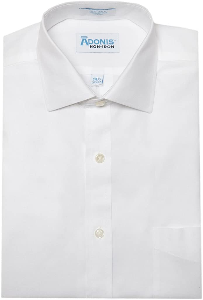 Mens 100% Cotton Non Iron White Pinpoint Button Cuff Dress Shirt