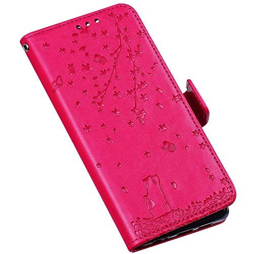QPOLLY Compatible avec iPhone XR Coque, Élégant Fleurs Chat Motif Housse Portefeuille Cuir PU Flip Etui à Rabat Fermeture Magnétique Case avec Porte Carte Support Stand Fonction,Rouge