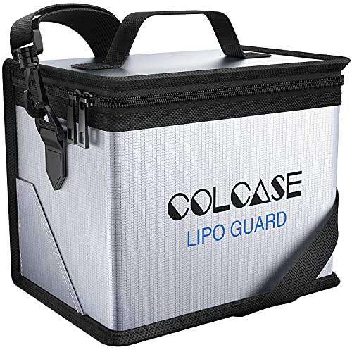 COLCASE Upgraded Fireproof Lipo Safe Bag for Lipo Battery Storage and Charging , Large Space Highly Sturdy Double Zipper Lipo Battery Guard (8.46x5.70x6.5 in)