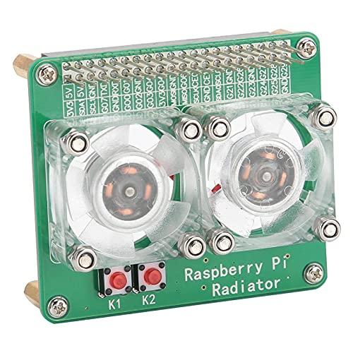 Tablero de expansión del módulo de refrigeración, tablero de expansión de ventilador de doble refrigerador para Raspberry PI 3A + / 3B / 3B + / 4B, módulo de ventilador de enfriamiento con iluminación
