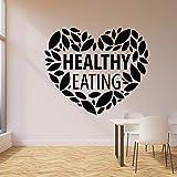 Etiqueta de la pared Amor Corazón Comida sana Cocina Comida orgánica Restaurante Decoración interior Vinilo Etiqueta de la ventana Arte Hoja Mural