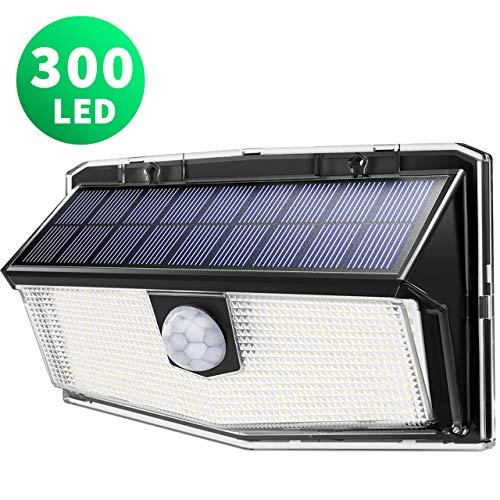 300 LED Luci Solari Esterno,【Nuovo design nel 2019】Luce Solare con Sensore di Movimento, 270ºIlluminazione wireless Lampada Solare per Giardino, Parete Wireless Risparmio Energetico (1 Pezzo)