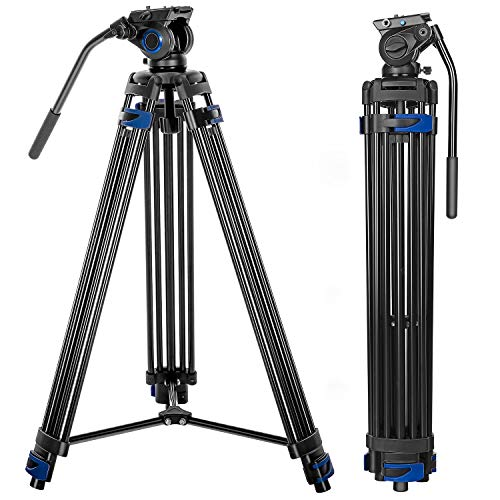 Professional Video Tripod System, 72-inch Aluminum Heavy Duty Twin Tube Camera Tripod with Fluid Head for DSLR Camcorder, Max Loading 13.2 LB