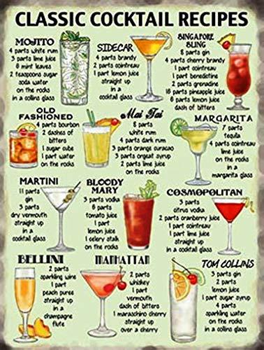 Classic Cocktail Recipes - Kitchen Pub, Retro Vintage Metal Tin Sign - 10647, PVC, 6 x 8