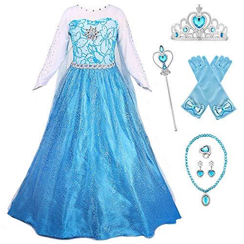 O.AMBW Vestido Azul Moda Formal Princesa Elsa Festival de Baile Disfraz de Nia Carnaval Halloween Disfraz de Cosplay Complemento Completo 6 Anillo Collar Corona Guante Pendiente Varita