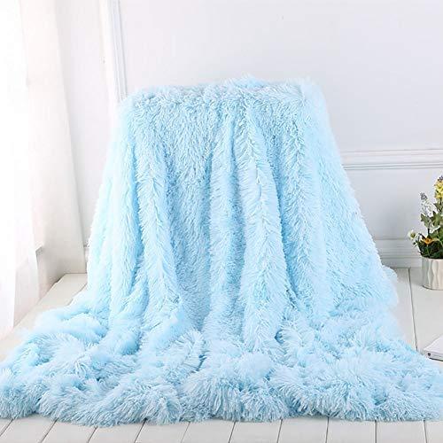 Suaves Long Shaggy Manta, Piel Sintética Cálida Elegante Acogedo Fluffy Manta Colcha Conveniente para Sofá O Cama-Azul Claro 80x120cm(31x47inch)