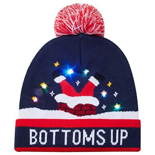 AIDEAONE Uomo Donna LED Cappello A Cuffia Illuminato A LED Cappellino In Maglia Di Dinosauro Per Berretti Maglione Brutto Di Natale