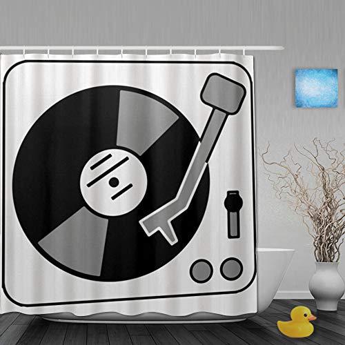 ShopHM Cortinas de Ducha,Tocadiscos Música Vinyl Record DJ