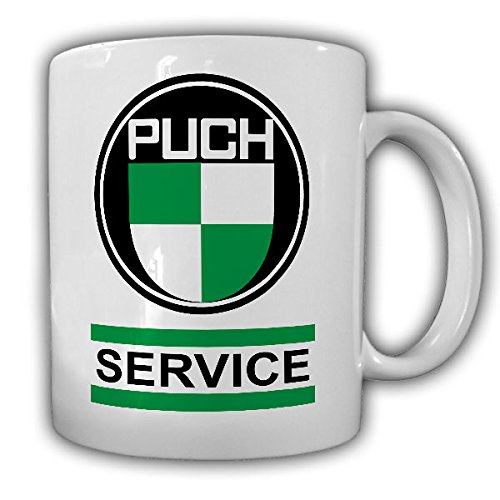 Puch SERVICE wapen Puch-Werke Oldtimer embleem fan Oostenrijk fiets motorfiets auto gras mok beker koffie #13449