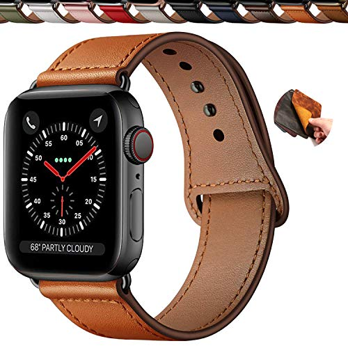 Qeei Compatible with Apple Watch Armband 44mm 42mm,Innovative Schnalle Echtes Leder Uhrenarmbänder Versteckt Buckle Minimalistisch Lederarmband Replacment for iWatch Series 5 & 4 3/2/1,Cas-Brown