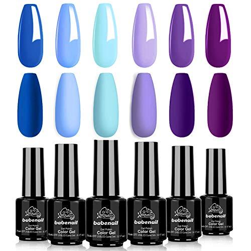 BabeNail Gel Nail Polish Set - Candy Macaron Shade Series 6 Pastel Colors UV LED Soak Off Nail Gel - Girly Fresh Nail Art Gel Collection Manicure Kit