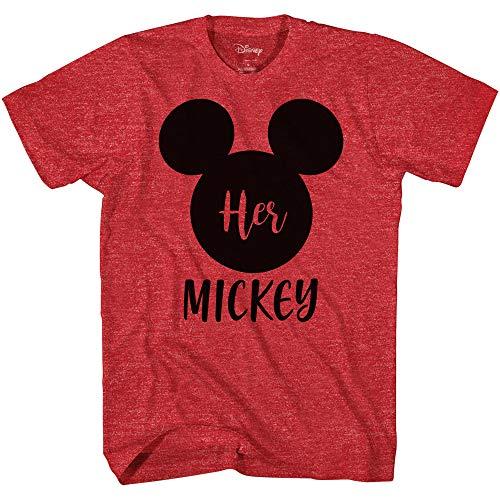 Disney His Minnie Her Mickey Couples Valentines Adult Funny Disneyland Graphic TShirtMickey Heather RedXXL