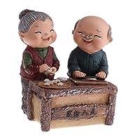 創造的な記念日の結婚祝いの樹脂愛する老夫婦の置物老年の寝室/居間の幸せな生活の装飾 - 餃子を作る
