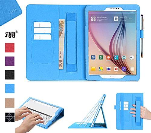 FYY Cover per Samsung Galaxy Tab S2 9.7', Custodia Samsung Tab s2 9.7, Ultra Sottile Flip Custodia in Pelle PU con Funzione Auto Svegliati/Sonnoo e Porta Penna per Samsung Galaxy Tab S2 9.7'-Azzurro