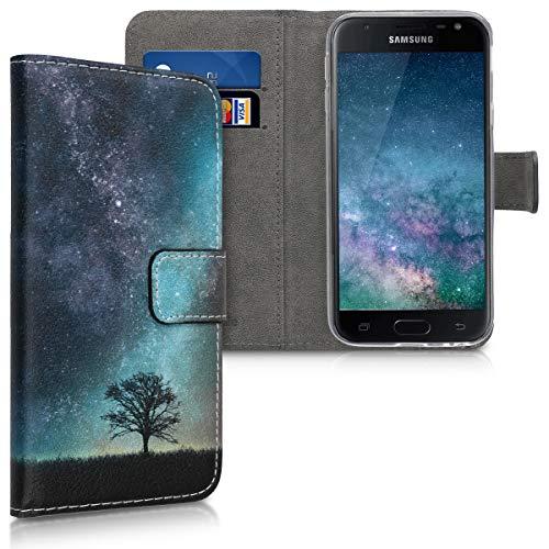 kwmobile Wallet Hülle kompatibel mit Samsung Galaxy J3 (2017) DUOS - Hülle Kunstleder mit Kartenfächern Stand Galaxie Baum Wiese Blau Grau Schwarz