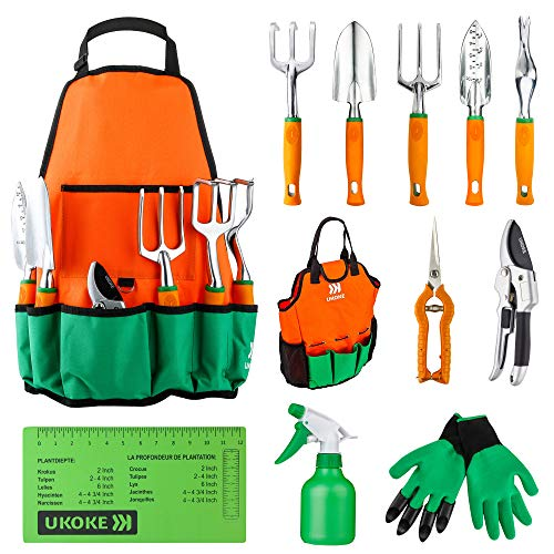 UKOKE Garden Tool Set, 12 Piece Aluminum Hand Tool Kit, Garden Canvas Apron with Storage Pocket, Outdoor Tool, Heavy Duty Gardening Work Set with Ergonomic Handle, Gardening Tools for women men