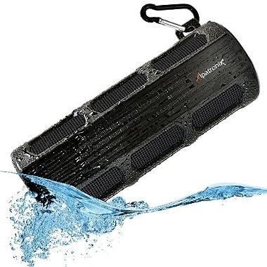 Waterproof Bluetooth Speaker, Alpatronix AX410 Portable Rugged Indoor/Outdoor 12 Watt Stereo Shockproof Wireless Speaker with Mic, Subwoofer & Carabiner for Cyclists, Smartphones & Computers - Black