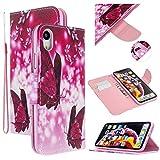 Nadoli Leder Hülle für iPhone Xr 6.1',Rot Schmetterling Pu Leder Buchstil Magnetverschluss Trageschlaufe Klapphülle Brieftasche Schutzhülle mit Standfunktion