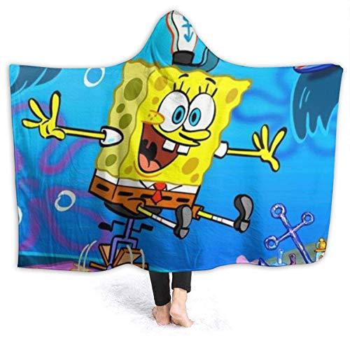 Stilvolle weiche Kapuze Decke,Auto Spongebob Unisex warm,komfortabel,Fleece-Decke für Erwachsene und Kinder,50 x 40 Zoll
