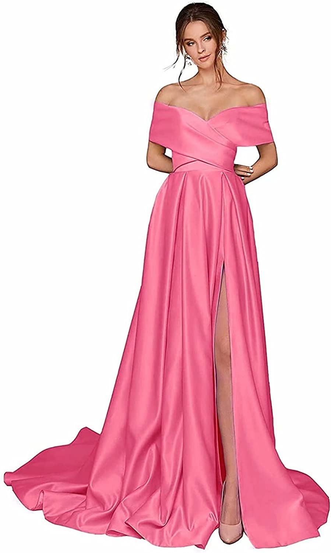 Off Shoulder Maxi Dresses Formal Long Split Dresses A Line Wedding Ball Gown Satin Prom Evening Dresses with Pockets