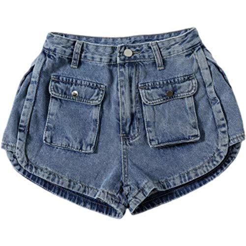 Pantalones Cortos de Mezclilla para Mujer Primavera y Verano Nuevos Pantalones Cortos de Mezclilla con Herramientas Casuales Pantalones Cortos de Pierna Ancha de Cintura Alta Sueltos con Bolsillos M
