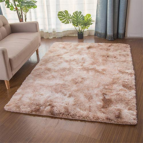 TROYSINC, tappeto a pelo lungo, a pelo lungo, morbido, tappeto a pelo lungo, lavabile per soggiorno, camera da letto (cammello, 80 x 160 cm)