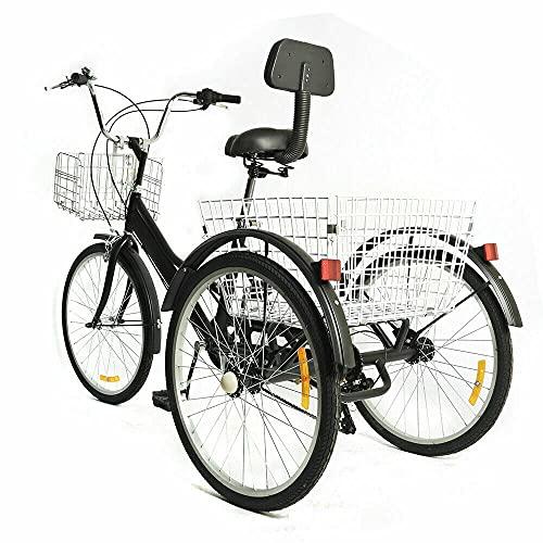 SHZICMY Triciclo de 24 pulgadas, 7 velocidades, para adultos, altura regulable, con cesta de la compra, bicicleta de 3 ruedas