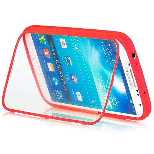 Samsung Galaxy S4 | iCues táctil TPU Rojo | Caso duro al Air libre grueso a prueba de golpes 360 grados Pantalla de cuerpo completo ronda los dos lados completan frente de silicona de gel de doble protección delantera y trasera  Cubierta Funda Carcasa Bolsa Cover Case