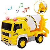 Buyger Construcción Vehículos Camión Hormigonera Coche de Juguete con Luces y Sonido Educativos Regalo para 3 4 5 Años Niños