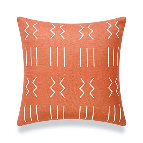 Hofdeco African Mudcloth Cushion Cover ONLY, Rust Orange Dashes, 45cmx45cm