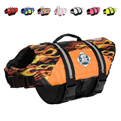 Paws Aboard Dog Life Jacket, Fashionable Dog Life Vest for Swimming and Boating - Flames