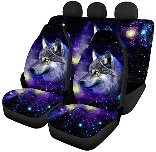 chaqlin Galaxy Wolf Autozubehör 4-teiliges Set, 2-teiliges Auto-Vordersitzbezüge + 2-teilige Geteilte Sitzbezug-Rücksitzschutz-Komplettset für Damen Herrengeschenke, universelle Passform