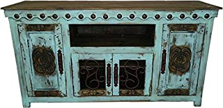 Hi End Rustic Medieval Hand Scrape 67 inch TV Stand Available in 9 Colors (Aqua)