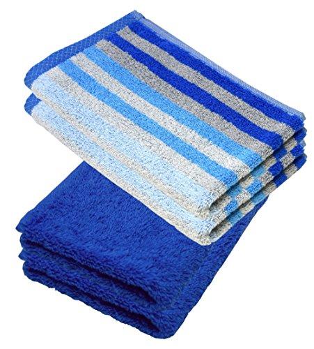 Lashuma - Set di asciugamani, guanto da bagno, asciugamano, asciugamano per ospiti, telo doccia, turchese - grigio - viola - blu - fucsia - sabbia beige - mais giallo, 100% cotone, Blu, 4er 30 x 50 cm