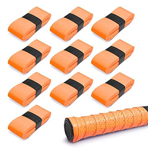グリップテープ (10個セット) グリップ テープ 滑り止めテープ クリップテープ 吸汗性グリップテープ 「 ゴルフ テニス 釣り竿 自転車 野球 バドミントン などにご活用下さいませ」 オーバーグリップテープ 【ZEROSIX】 (オレンジ)