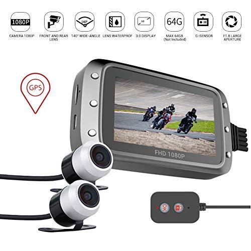 """XCHUNA Moto Dash Cam, Telecamera di Sicurezza per Moto Impermeabile IP68 con Doppio Obiettivo Anteriore e Posteriore 3\""""IPS Screen, registratore di Guida del Motociclo"""