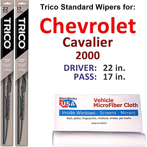 Wiper Blades Set for 2000 Chevrolet Cavalier Driver/Pass Trico Steel Wipers Set of 2 Bundled with MicroFiber Interior Car Cloth