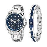 Maserati Successo Reloj Hombre, Cronógrafo y Pulsera de Acero, PVD Azul - R8851121016