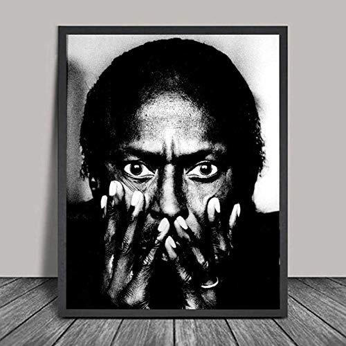 WIOIW Miles Davis Retrato Jazz Música Estrella Trompeta Intérprete Músico Lienzo Pintura Arte de la Pared Póster Impresiones HD Dormitorio Sala de Estar Oficina Estudio Decoración del hogar