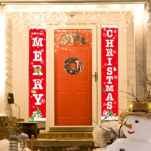 Wityoo Christmas Decoration 13 x 70 Inch Door Banner Outdoor Indoor, Merry Christmas Front Porch Sign Xmas Decor Banners for Home Front Door Wall Yard Garden Office Apartment Decoration