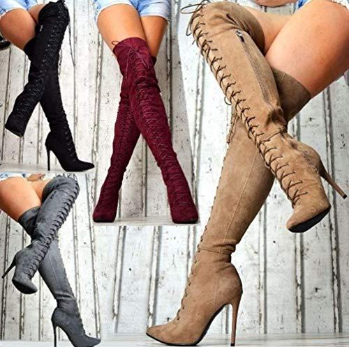 UMOOIN sobre Las Botas de la Rodilla Otoño Invierno Stiletto Tacones Altos Toe Toe Toe Botas para Mujer Lace Up Strappy Later Side Cremallera Larga Bota,Wine Red,37